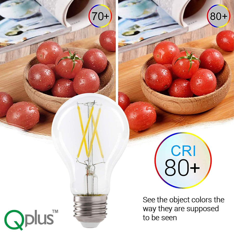 QPlus A19 Photocell Filament Non-Dimmable LED Bulb, 800 lumens - Dusk to Dawn Sensor (4Pack)