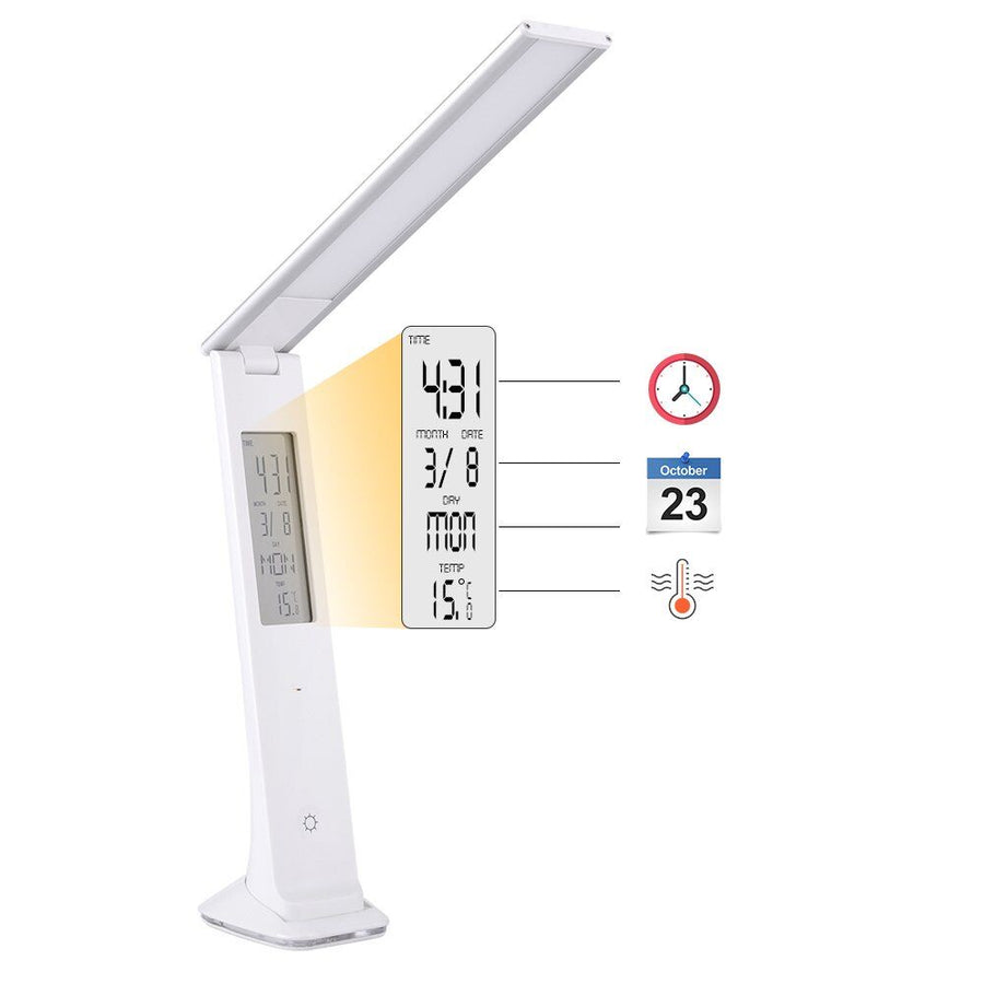 QPlus Rechargeable Elegant Slim Style LED Desk Light With Digital Display - 3 Brightness Levels