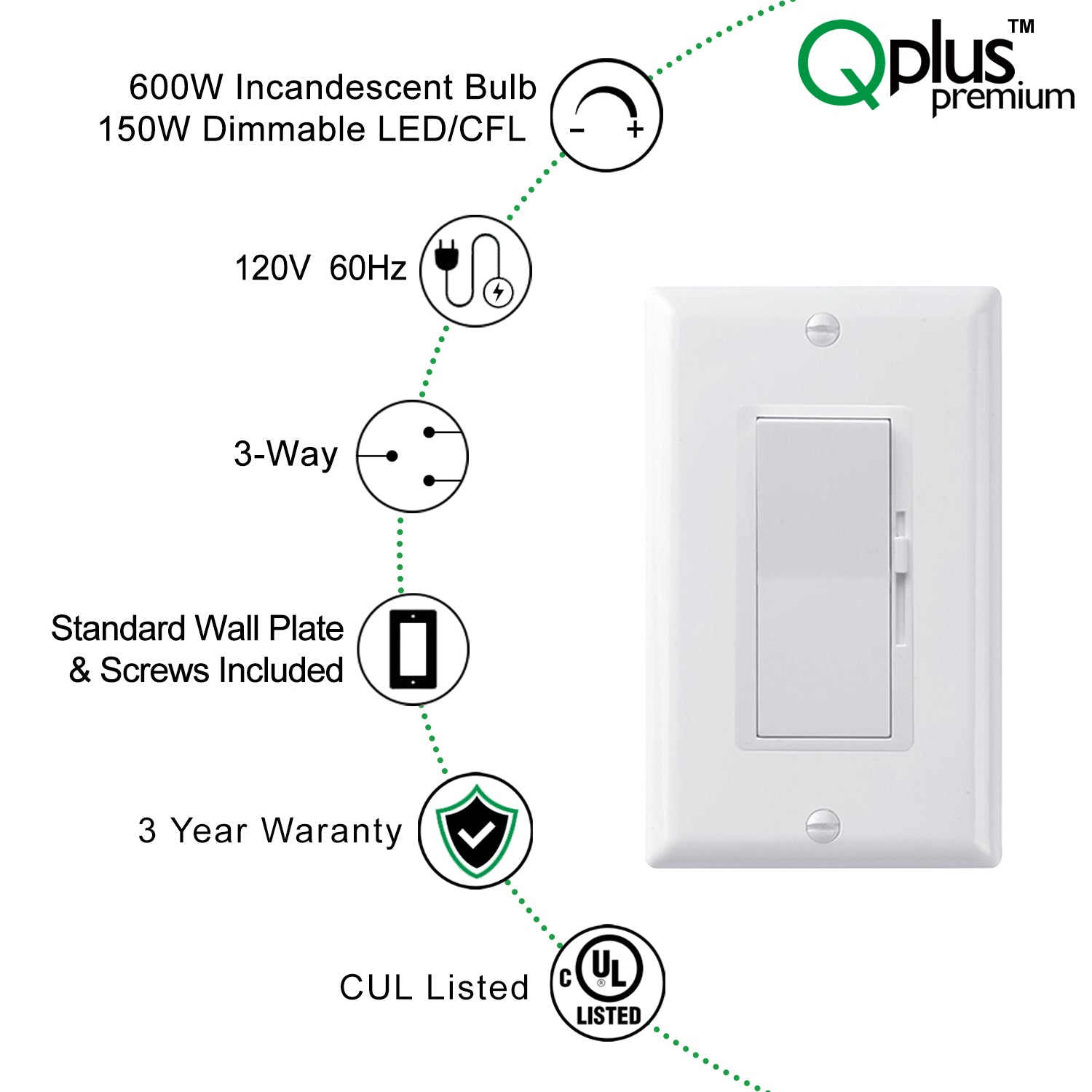 QPlus Premium 3Way 2nd Generation Dimmer Switch with Wall Plate - cUL & FCC Certified (Digital Circuit)