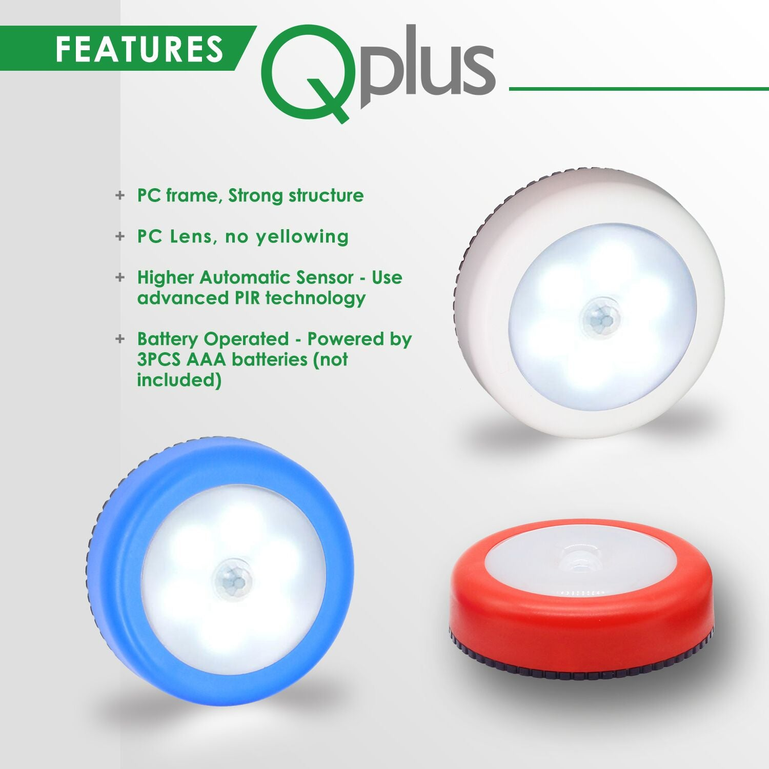 QPlus Motion Sensor Wireless Night Lights - Battery Powered 3000K