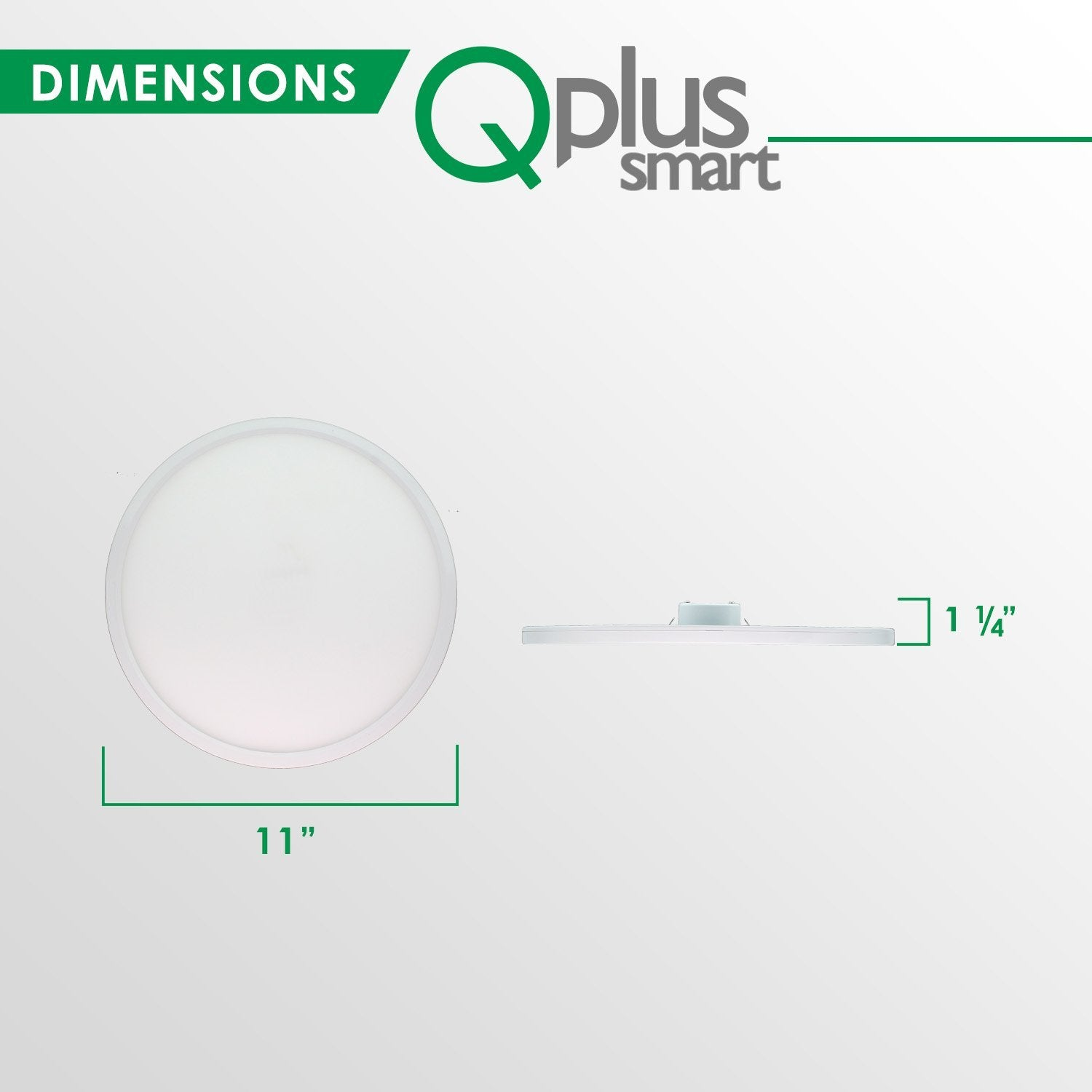 QPlus 11 Inch Slim Flat Panel Ceiling Fixture 12W- 850 Lumens - QPlus Home - Brighten Your Life