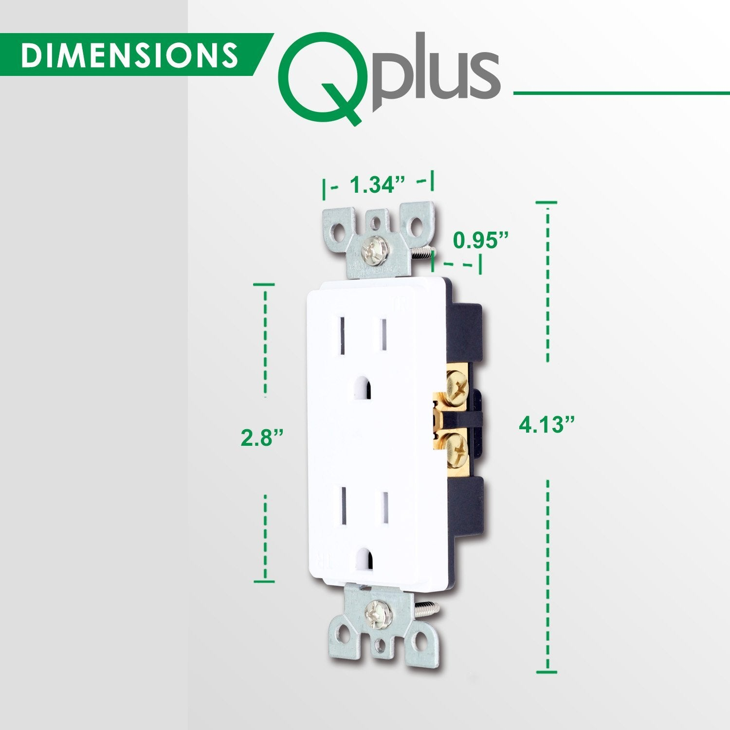 QPLUS 15Amp Tamper Resistant Wall Outlet - UL Listed (Wall Plates & Screws Included) - QPlus Home - Brighten Your Life