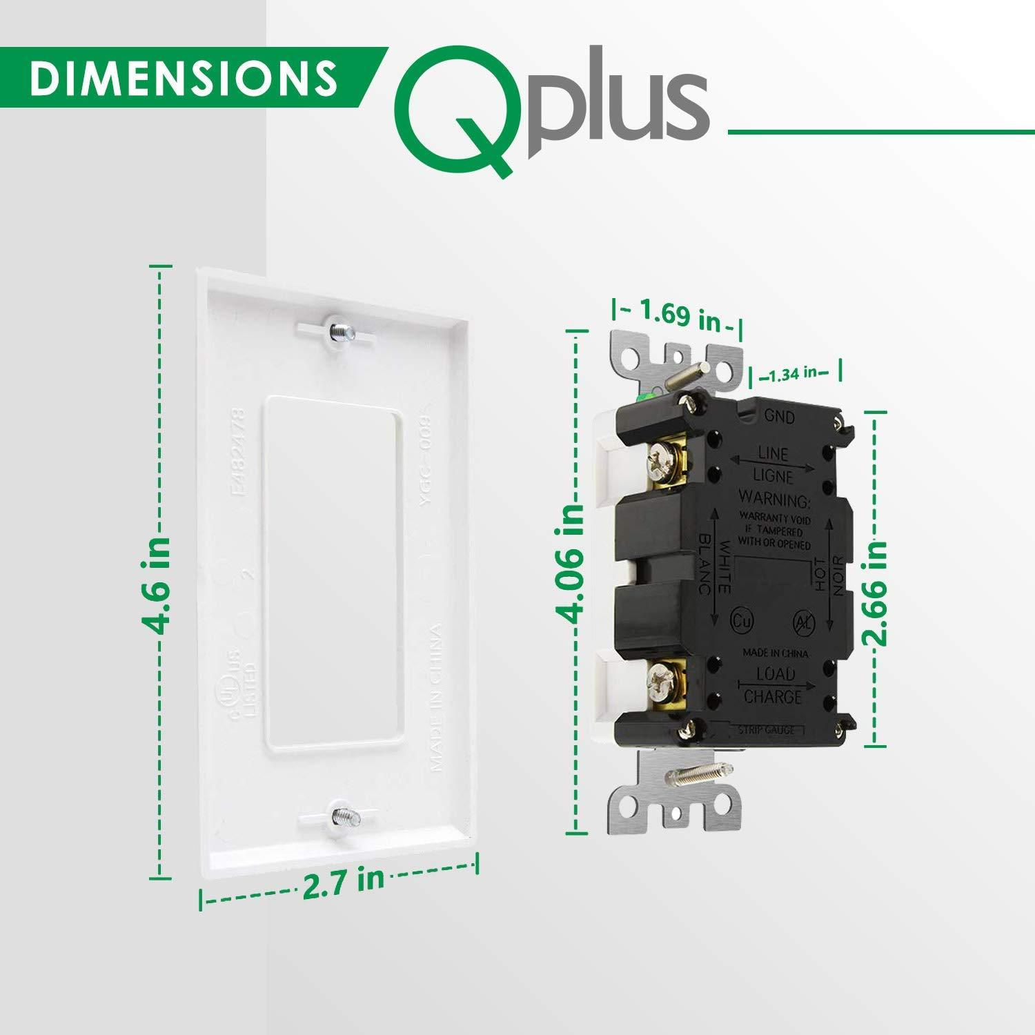 QPLUS 15Amp Tamper & Water Resistant GFCI Receptacle Outlet with LED Indicator 1875W - UL Listed (Wall Plates & Screws Included) - QPlus Home - Brighten Your Life