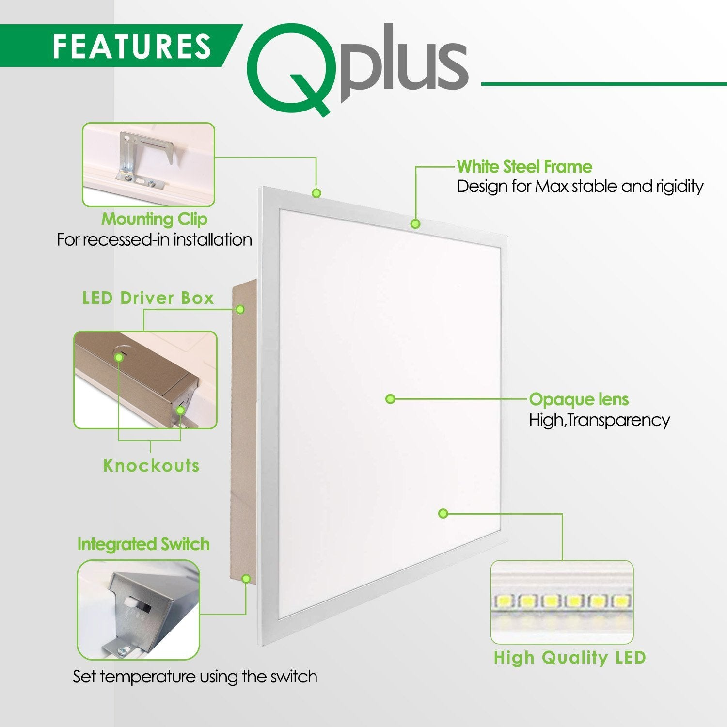 QPlus 2 x 2FT 4CS Color Changing(Color Change by Wall Switch) Dimmable Recessed LED Panel Fixture, 40W/4000 Lumens, 100/347VAC - QPlus Home - Brighten Your Life