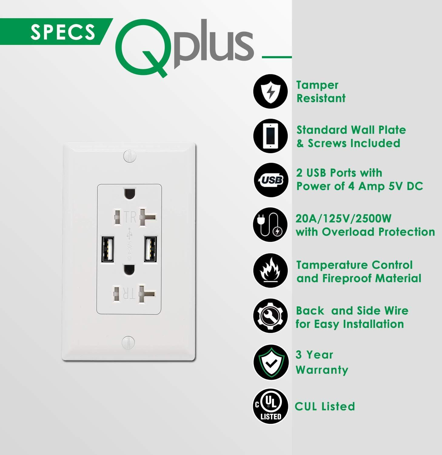 QPLUS 20 Amp USB Wall Receptacle Outlet, Tamper Resistant 2500W - UL Listed (Wall Plates & Screws Included) - QPlus Home - Brighten Your Life