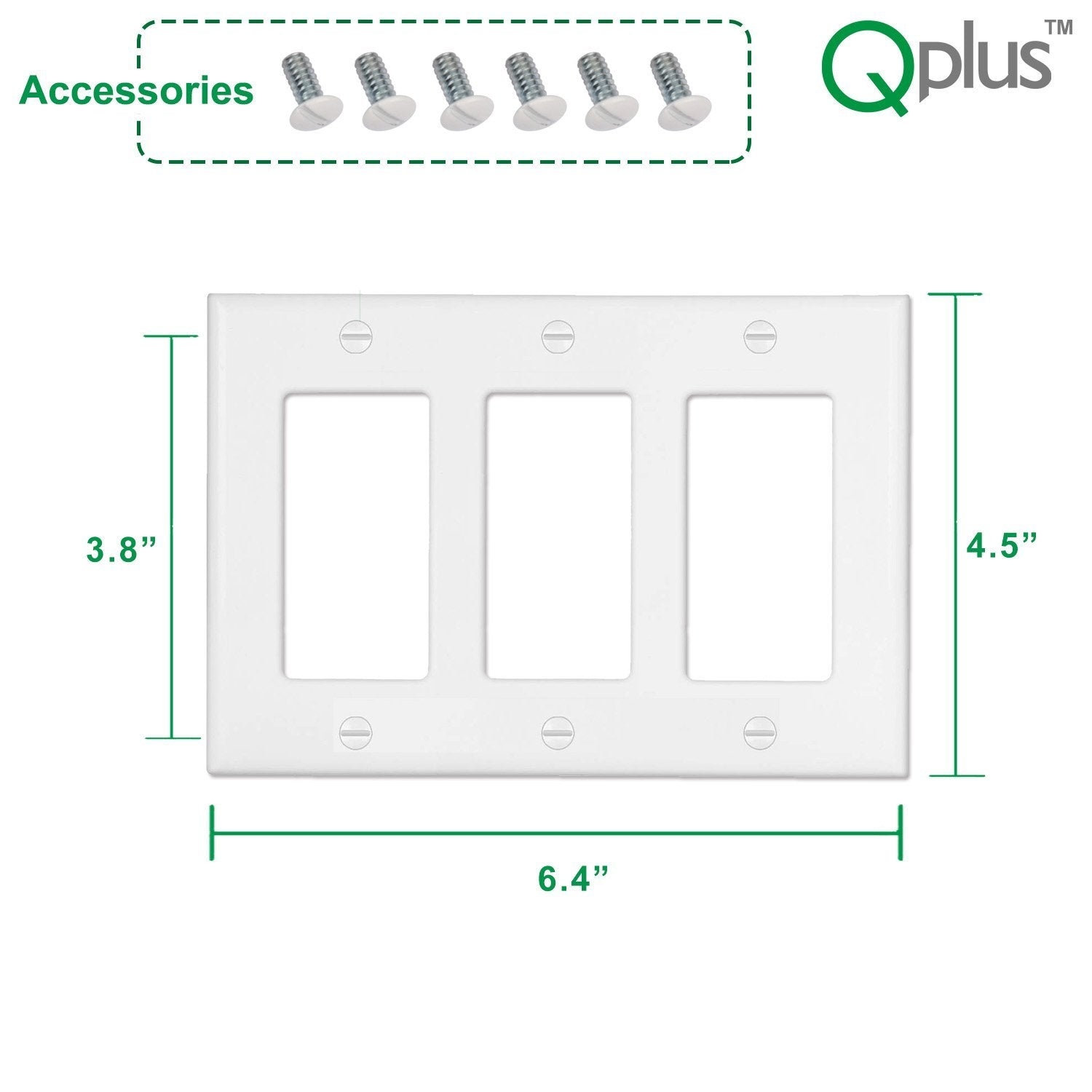 QPlus 3-Gang with Screwless Wall Plate, Standard Outlet Cover for Light Switch, Dimmer, GFCI and USB Receptacle for Residential and Commercial Use - White - QPlus Home - Brighten Your Life