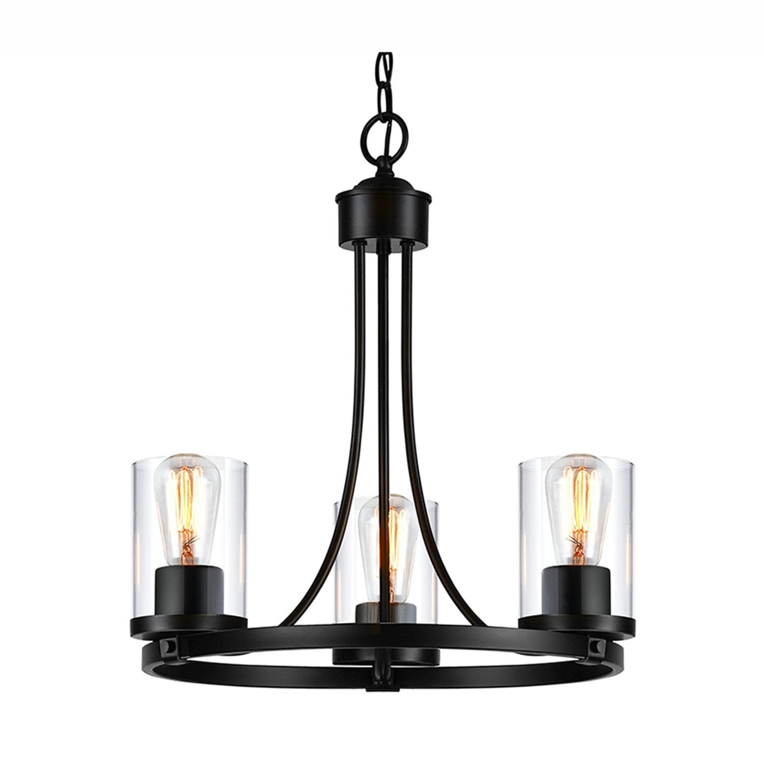 QPlus 3 Light Rustic Round Chandelier Pendant Lamp with E26 Bulb base & Clear Glass Shades - Black / Bronze - QPlus Home - Brighten Your Life