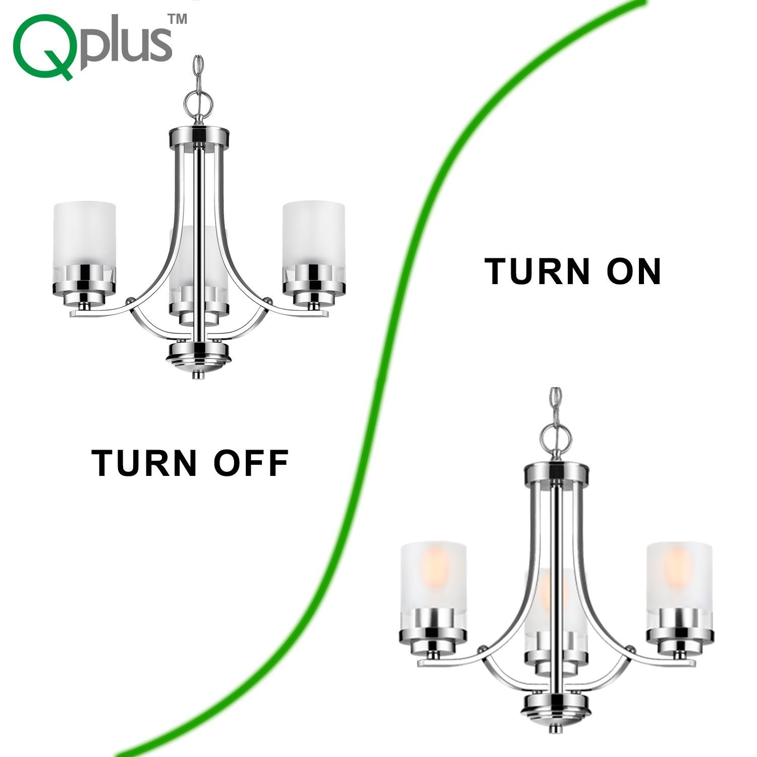 QPlus 3 Light Tulip Chandelier Pendant Lamp with E26 Bulb base & Clear, Frosted Glass Shades - Brushed Nickel / Bronze - QPlus Home - Brighten Your Life