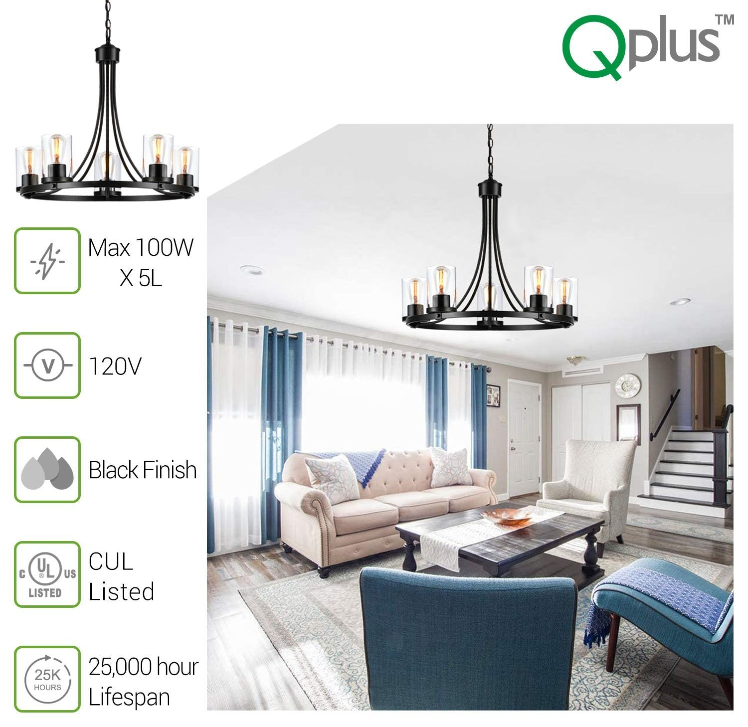QPlus 5 Light Rustic Round Chandelier Pendant Lamp with E26 Bulb base & Clear Glass Shades - Black / Bronze - QPlus Home - Brighten Your Life