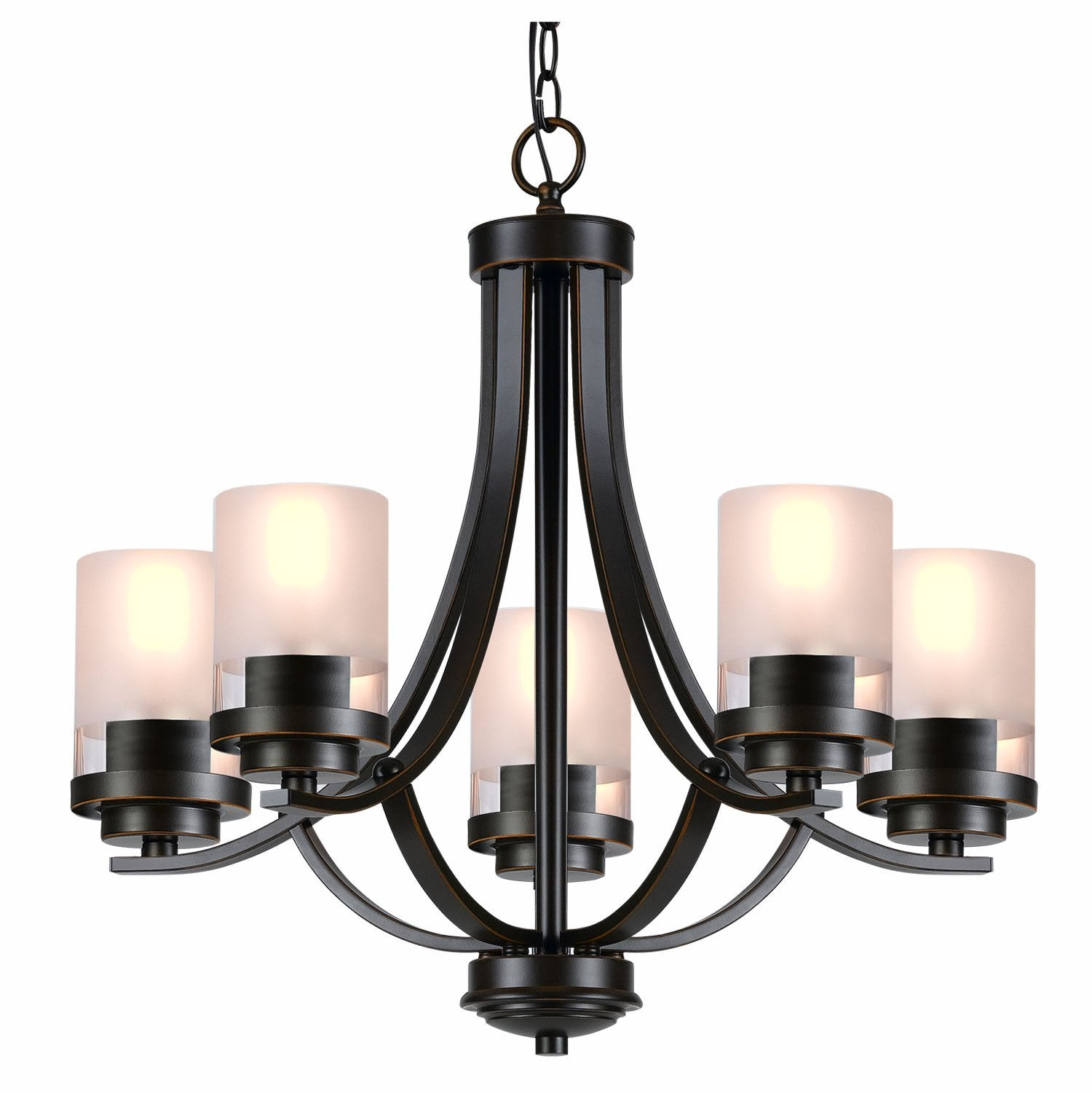 QPlus 5 Light Tulip Chandelier Pendant Lamp with E26 Bulb base & Clear/Frosted Glass Shades - Brushed Nickel / Bronze - QPlus Home - Brighten Your Life