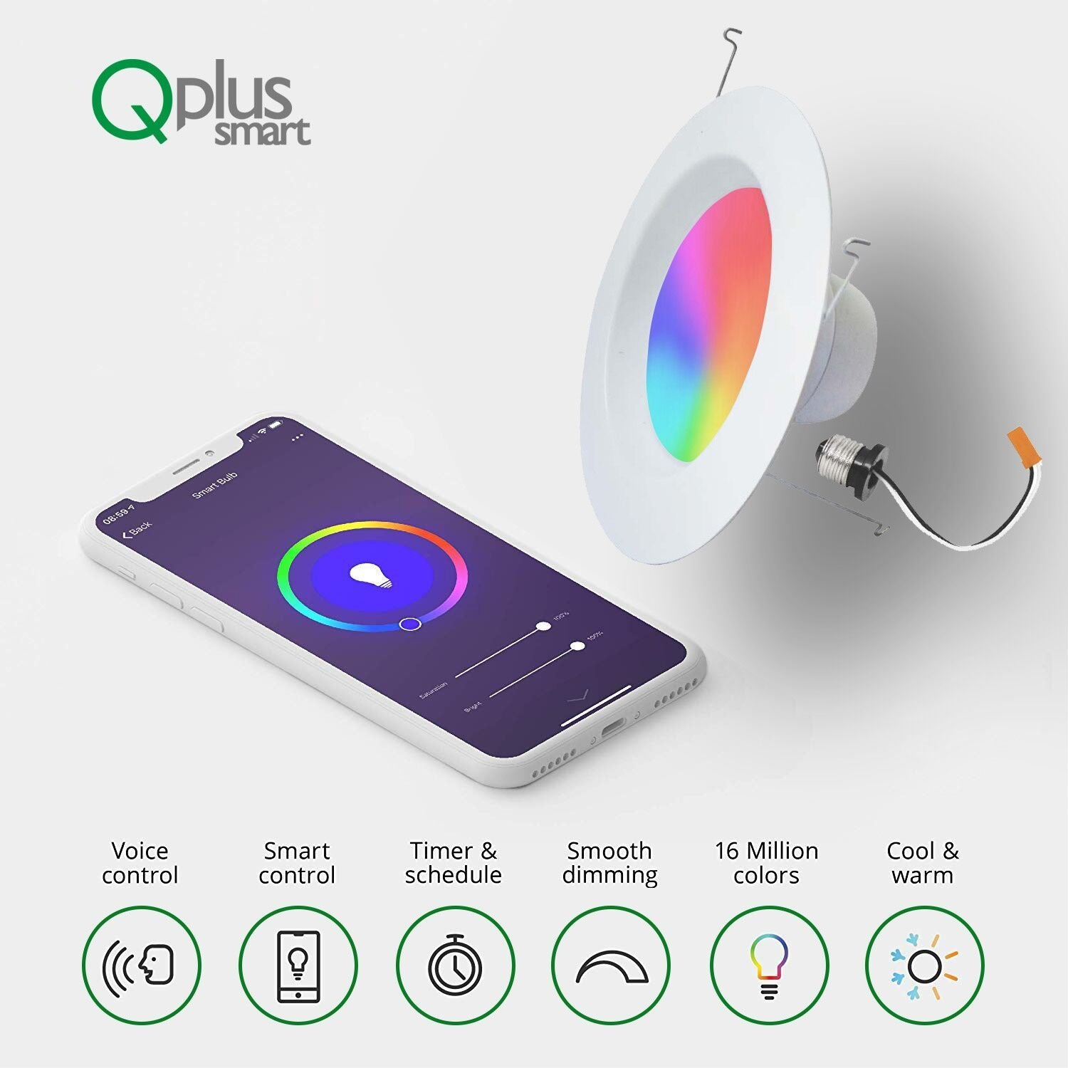 QPlus 5/6 Inch Smart LED Downlight (WiFi - No Hub) - Dimmable, 16 Million Colors & Tunable White 2700K-6500K - QPlus Home - Brighten Your Life