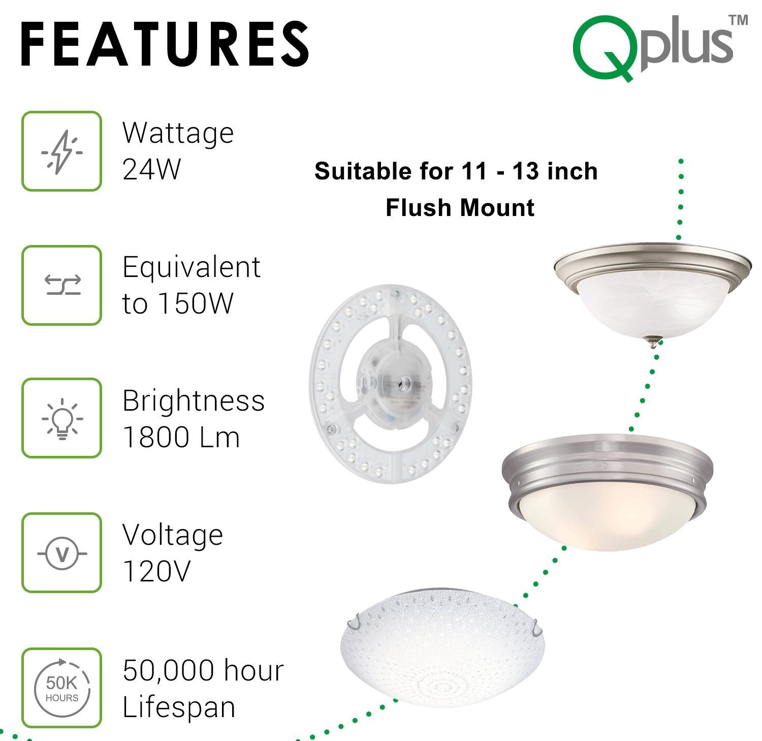 QPlus 7 Inch Circular LED Module Panel Replacement Light (Dimmable) -24W - 1800Lumens - QPlus Home - Brighten Your Life
