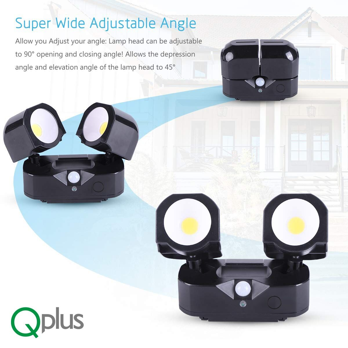 QPlus Motion Sensor Outdoor Spot Security Light for Garage/Shed/Backyard- Black Finish