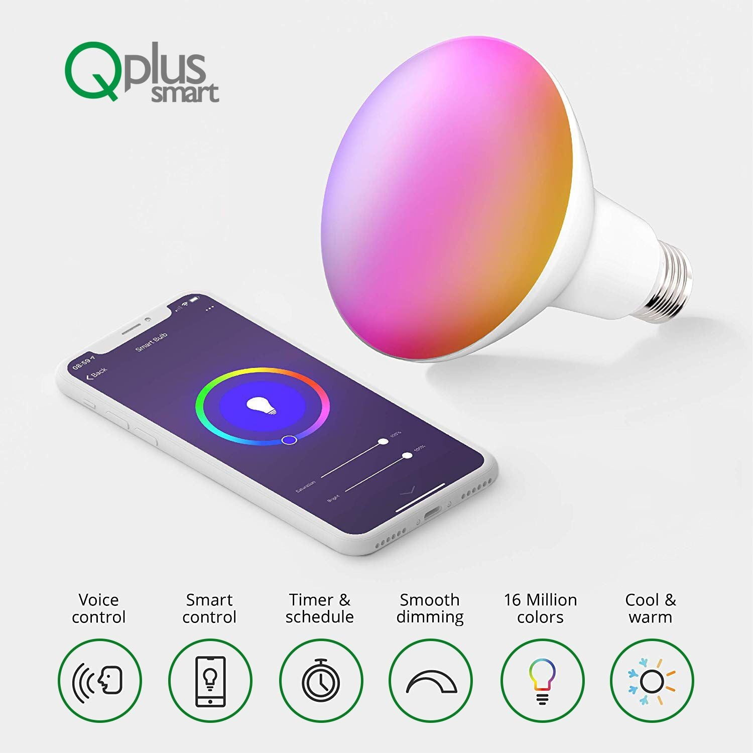 QPlus 9W Smart LED Bulb BR30 (WiFi - No Hub) - RGB Multi Color 16 million colors & Tunable White 2700K to 6500K (1 Pack)