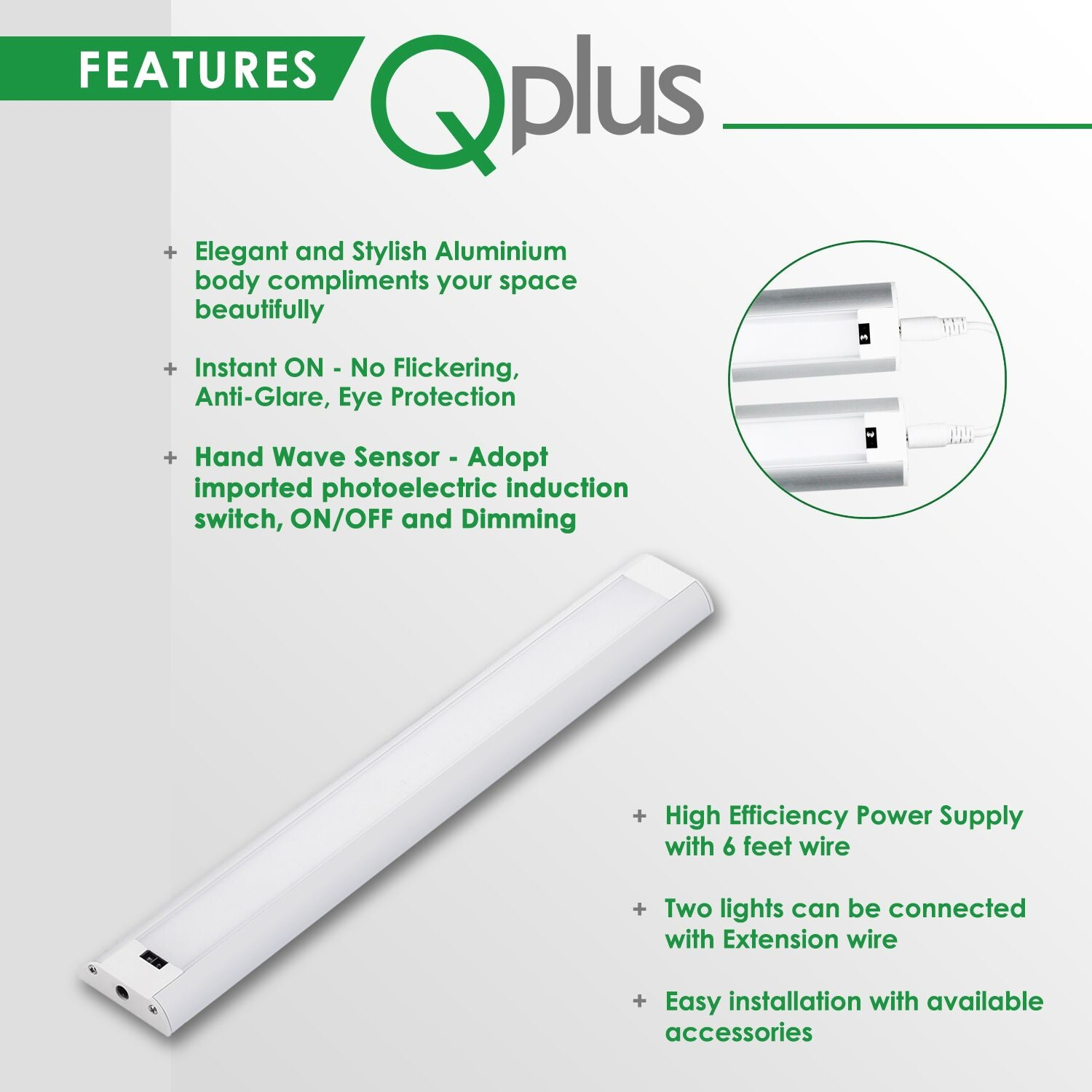 QPlusHand Sweep Sensor Under Cabinet/Closet LED Lights with Power Adapter (Set of 2) 3000K or 4000K
