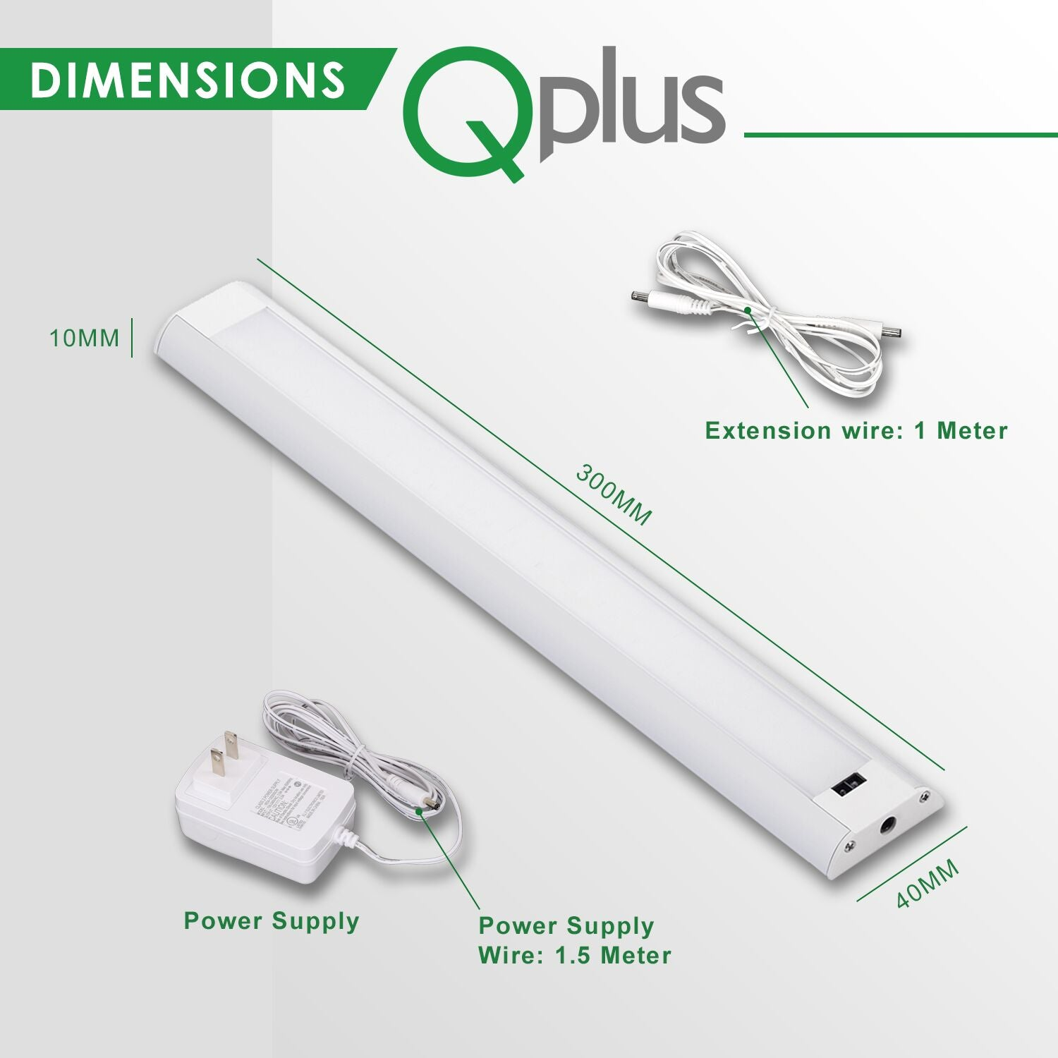 QPlus Hand Sweep Sensor Under Cabinet/Closet LED Lights with Power Adapter (Set of 2) 3000K or 4000K