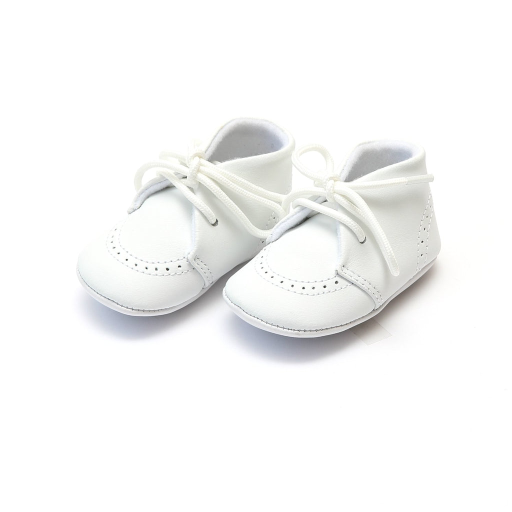 L'Amour - Benny Lace-Up White Crib Shoe
