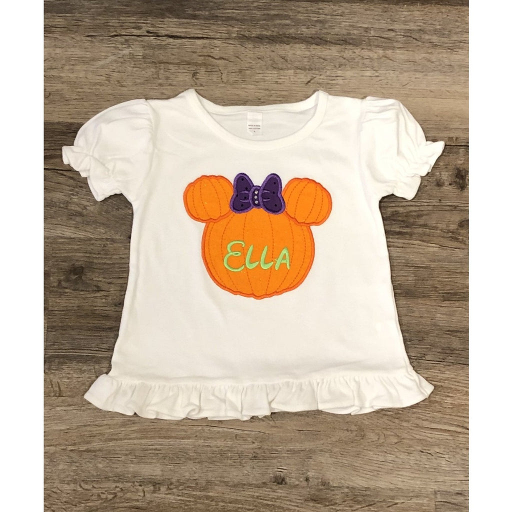 "Halloween - ""Minnie Pumpkin"" Girls Short Sleeve  Shirt"