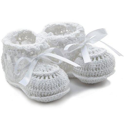 Elegant Baby Infant White Crochet Booties