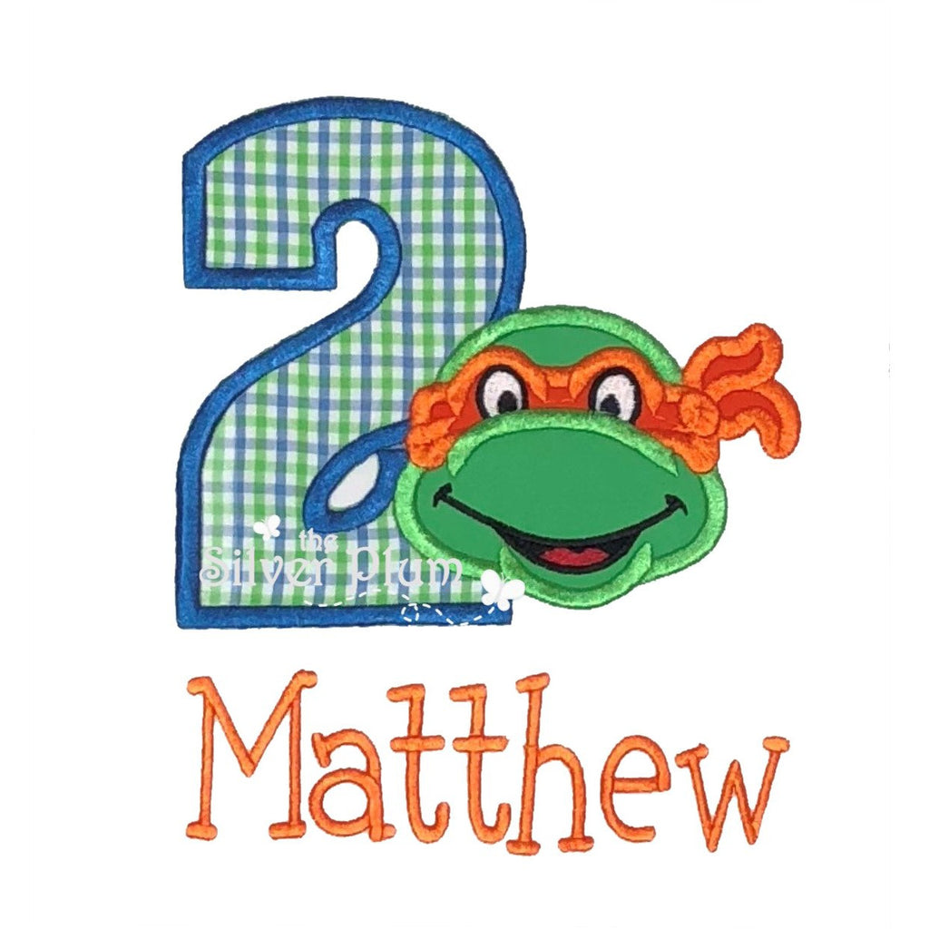 Birthday - Ninja Turtle 2nd Birthday, Number Two Applique Design and Personalized Name
