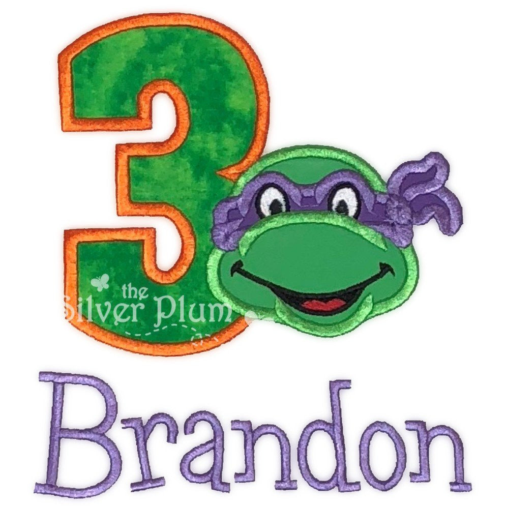 Birthday - Ninja Turtle 3rd Birthday, Number Three Applique Design and Personalized Name