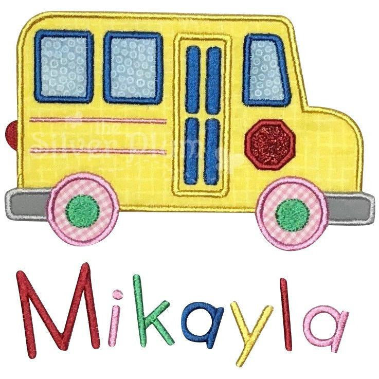 Back to School - Yellow School Bus for Girls, Stop Sign Applique Design and Personalized Name