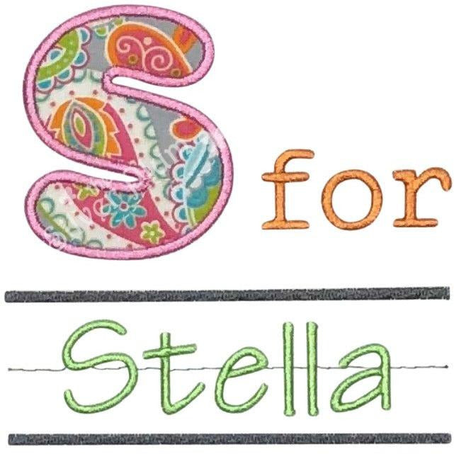 Back to School - Alphabet Pen & Paper, Girls School Notebook Applique Design and Personalized Name