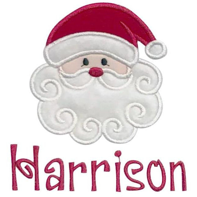 Christmas - Santa Face, Fuzzy Swirl Beard, Santa Hat Applique Design and Personalized Name