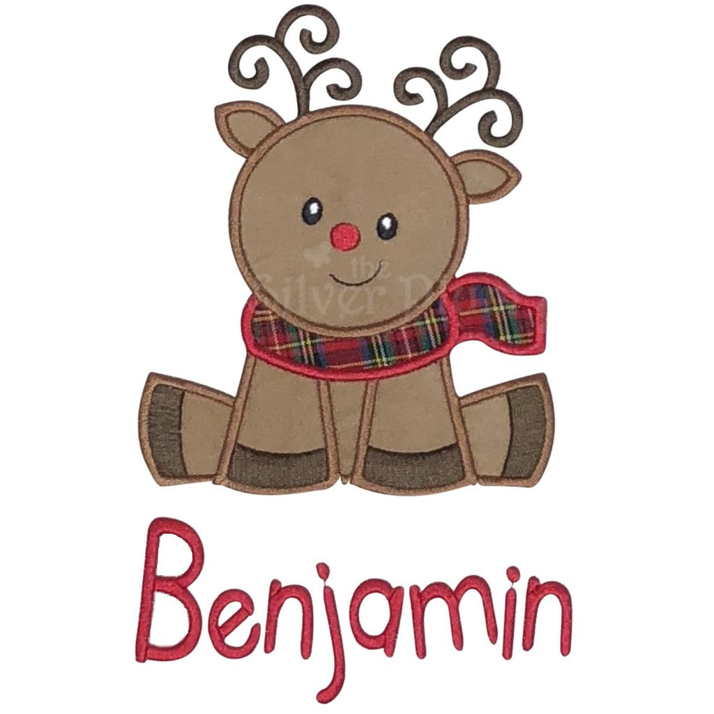 Christmas - Sitting Reindeer Applique Design and Personalized Name