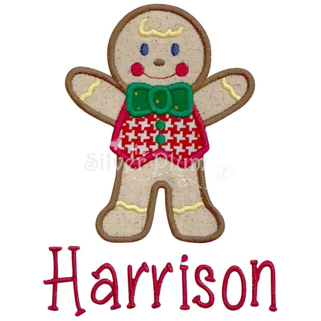 Christmas - Gingerbread Man, Gingerbread Boy Cookie Applique Design, Select Garment Style