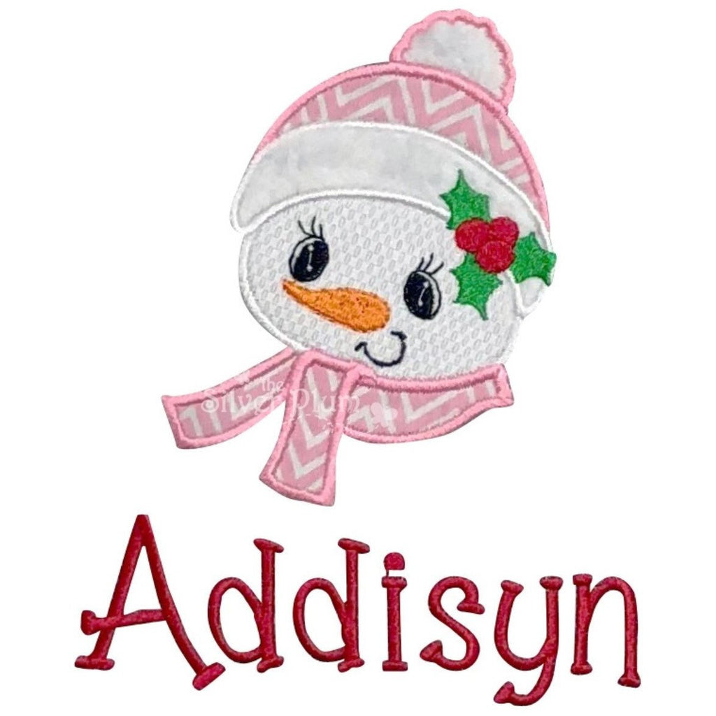 Christmas - Cute Snowman Girl Face With Scarf Applique Design and Personalized Name