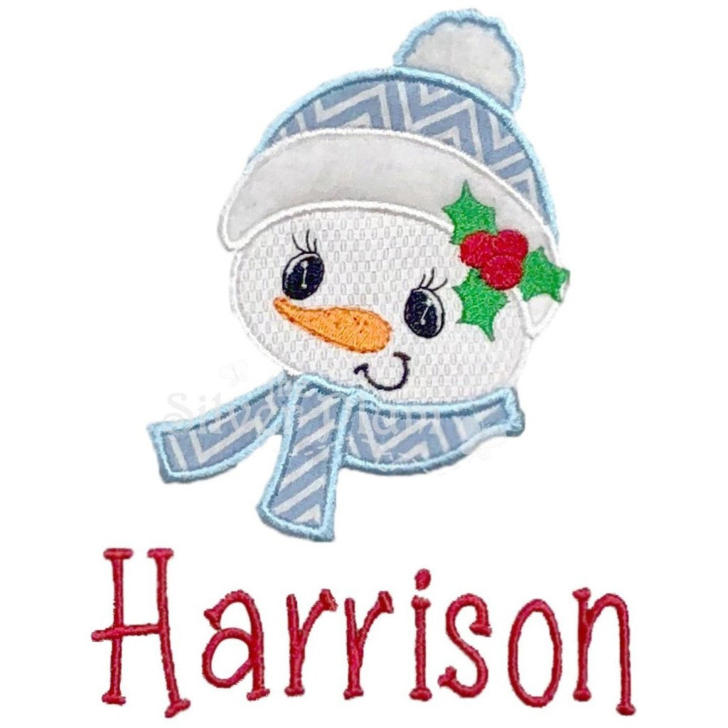 Christmas - Cute Snowman Boy Face with Scarf Applique Design and Personalized Name
