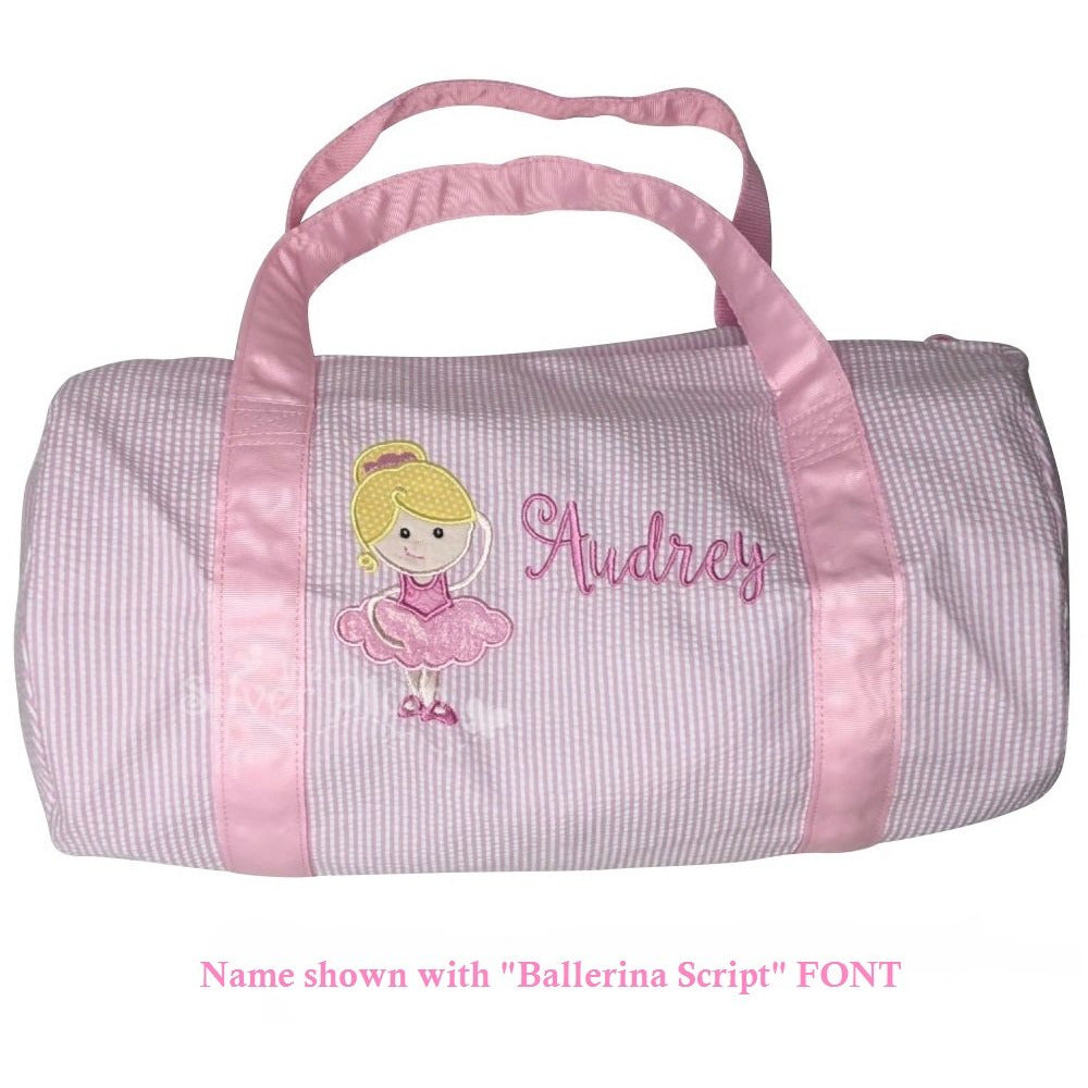 Seersucker Pink Ballet Bag, Duffle Bag, Ballerina Girl, Ballet Shoes Applique Design and Personalized Name
