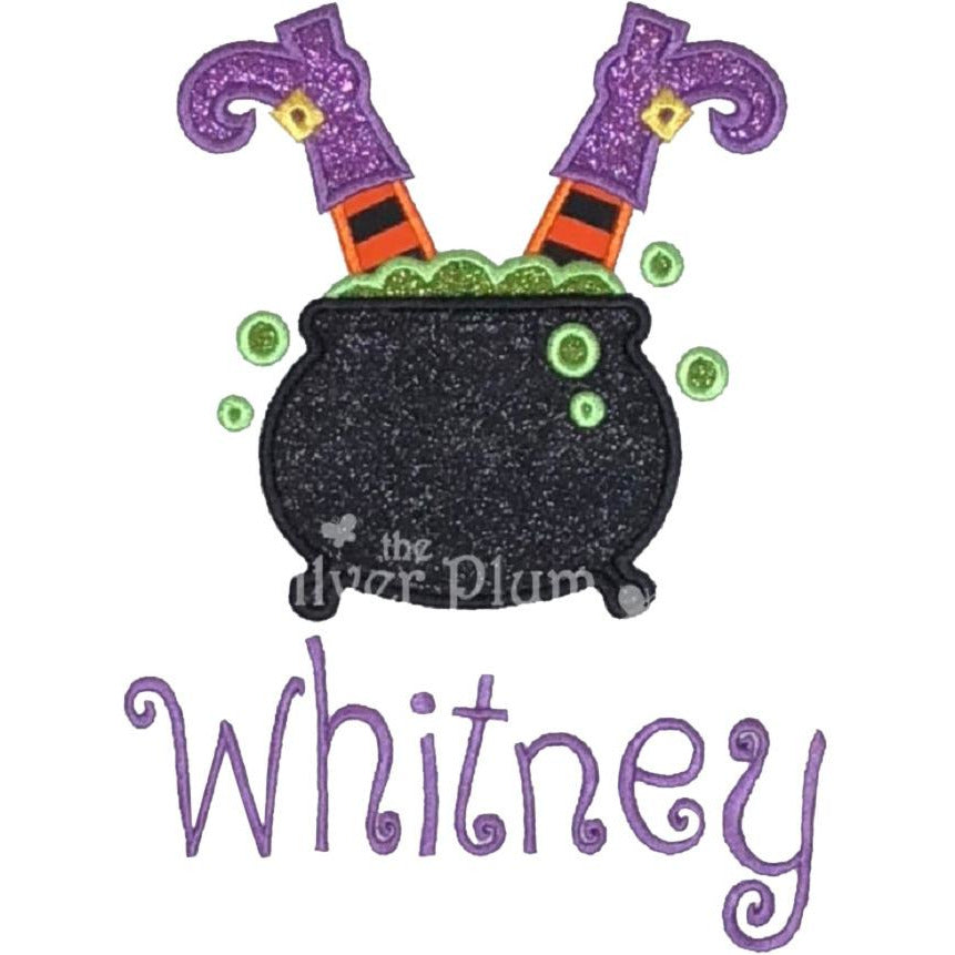 Halloween - Witch Boots in Cauldron, Halloween Cauldron Applique Design and Personalized Name