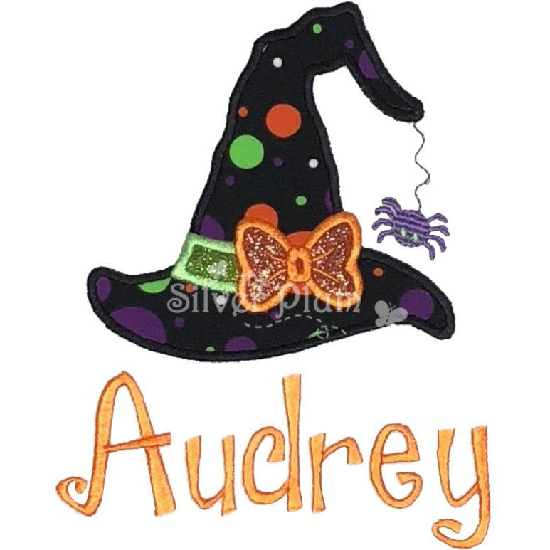 Halloween - Girls Witch Hat with Bow and Dangling Spider Applique Design and Personalized Name