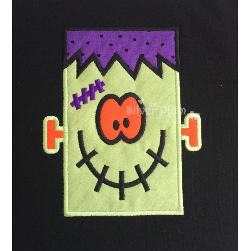 Halloween - Cute Frankie Face with Scar Applique Design and Personalized Name