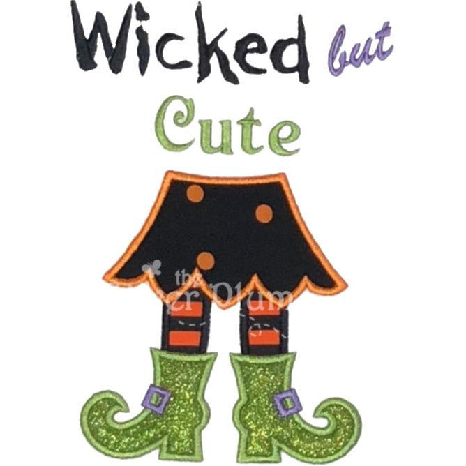 Halloween - Wicked But Cute, Witch Skirt & Boots Applique Design - Select Garment Style