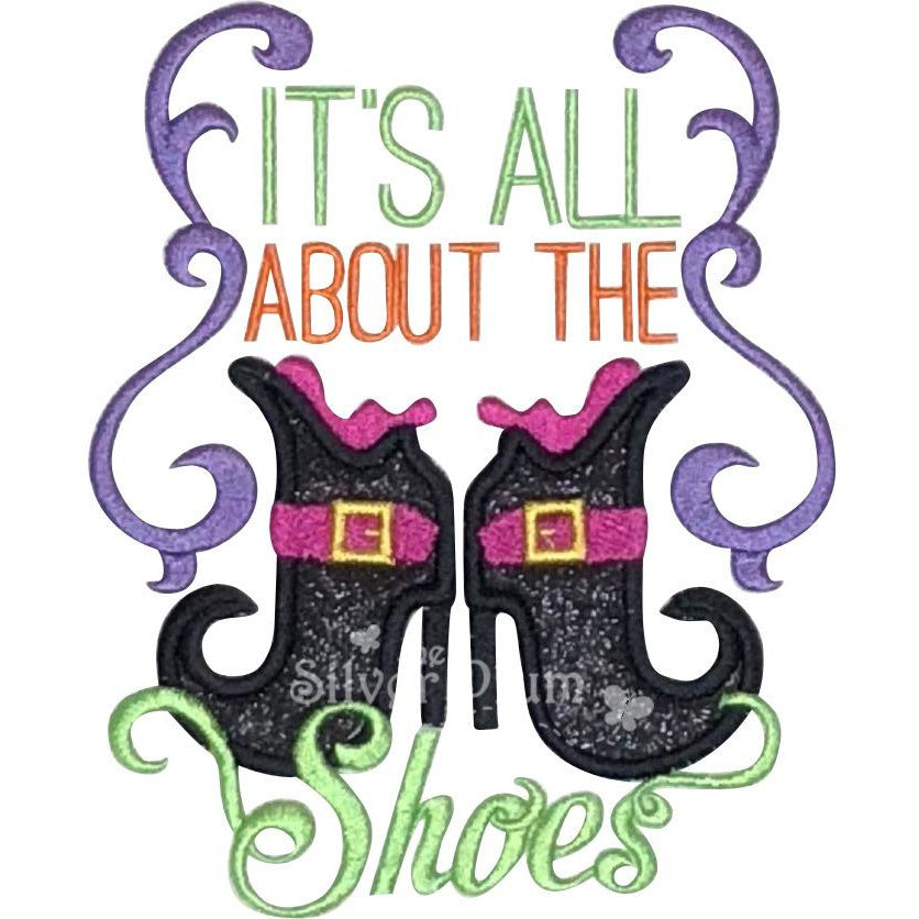 Halloween - It's All About The Shoes, Witch Boots Applique Design, Select Garment Style