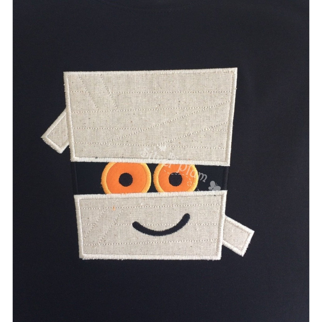 Halloween - Cute Mummy Face Applique Design, Select Garment Style
