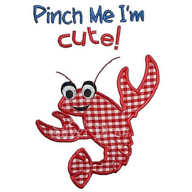 Louisiana / NOLA - Pinch Me I'm Cute Red Crawfish Applique Design, Select Garment Style