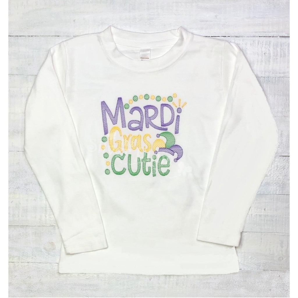 "Mardi Gras - ""Mardi Gras Cutie"" Boys Embroidery, Purple, Green & Gold, Long Sleeve Crew"