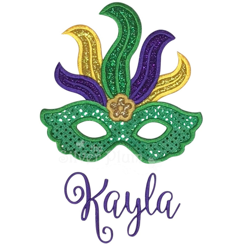 Mardi Gras - Mask and Plumes Applique Design, Choose Garment Style