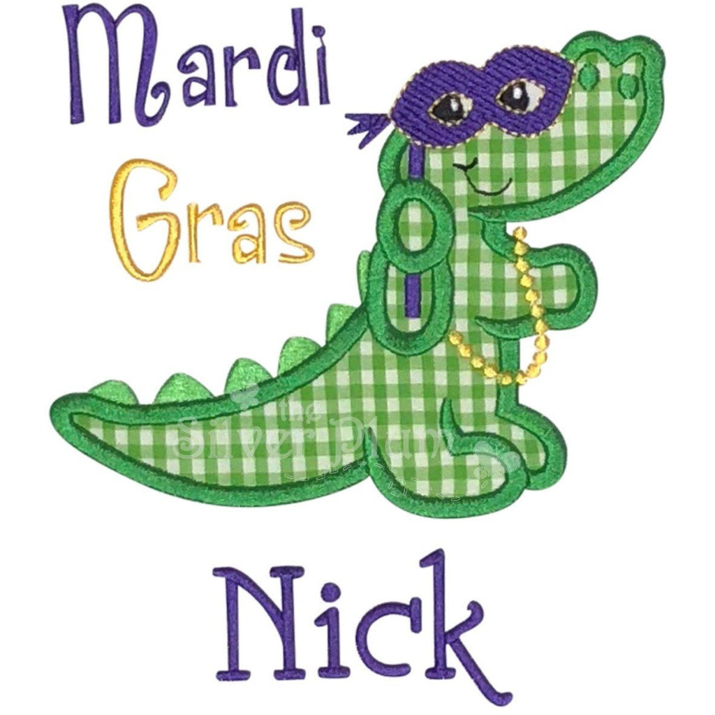 Mardi Gras - Alligator Mask, Beads, Purple, Green & Gold Applique Design, Choose Garment Style