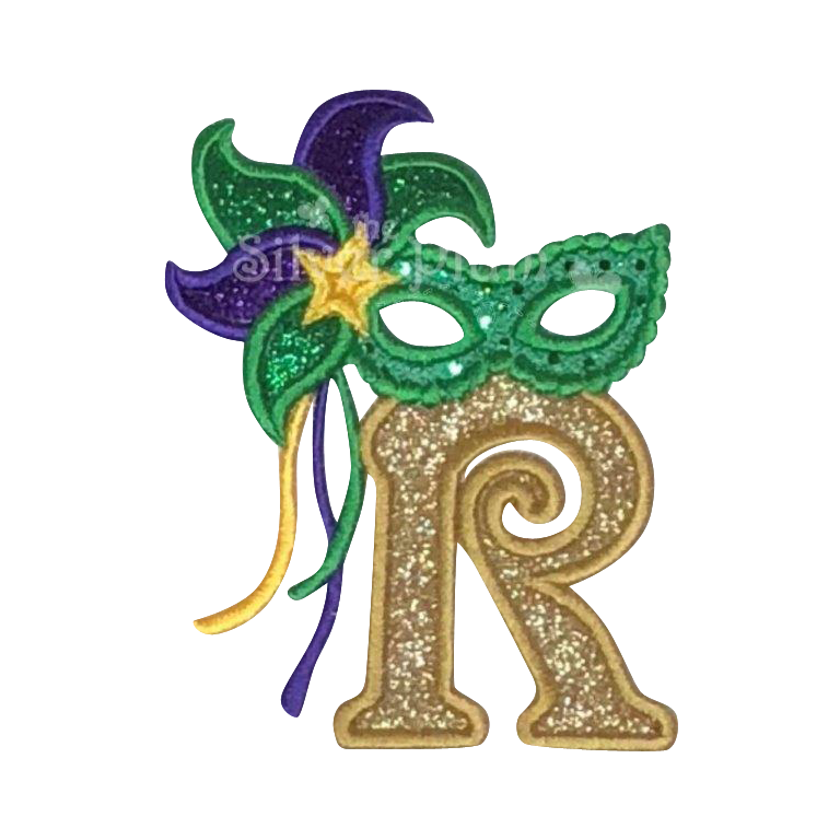Mardi Gras - Alphabet Masquerade Letters,  Applique Design - Choose a Garment Style