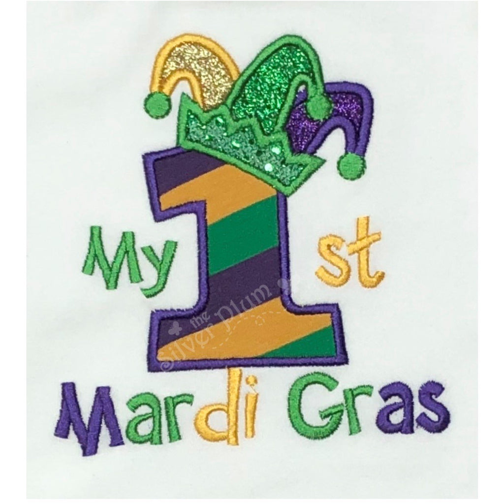 Mardi Gras - My 1st Mardi Gras Stripe, Jester Hat, Applique Design, Choose Garment Style