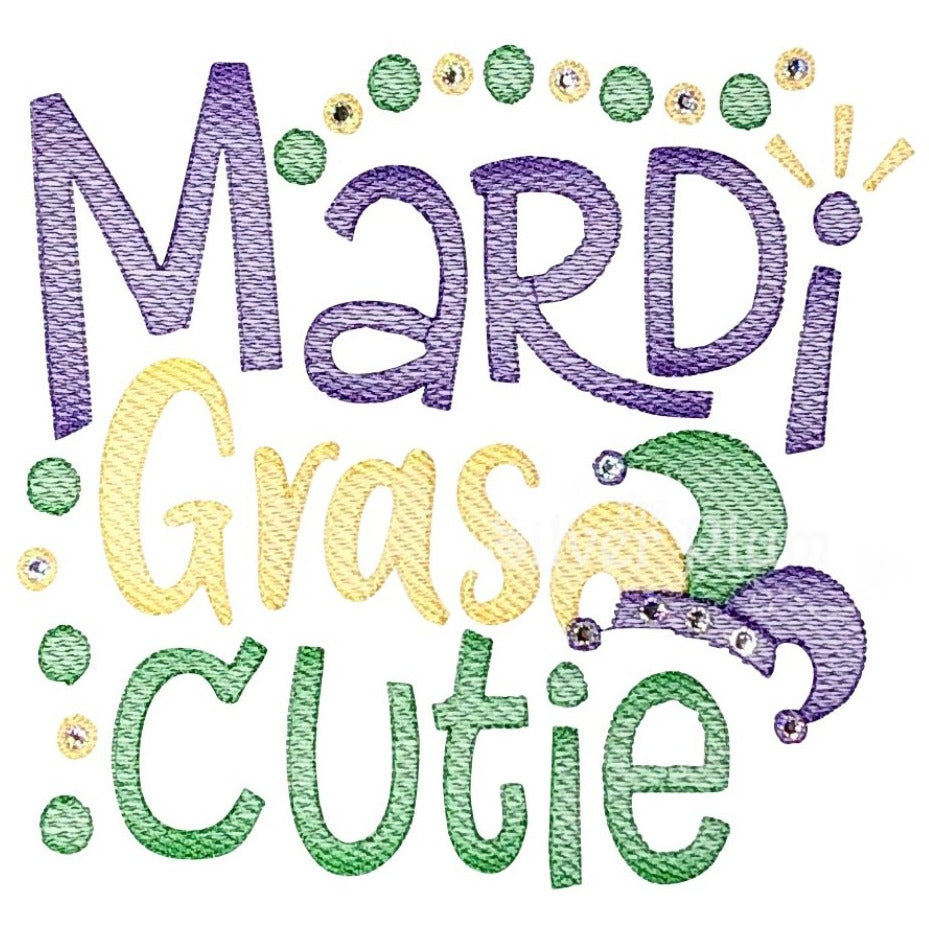 "Mardi Gras - ""Mardi Gras Cutie"" Girls BLING Embroidery Design, Long Sleeve Ruffle White Shirt"