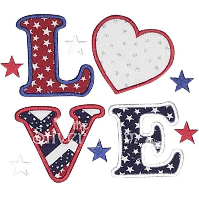 Patriotic - LOVE in Red, White & Blue with Big Heart and Stars Applique Design
