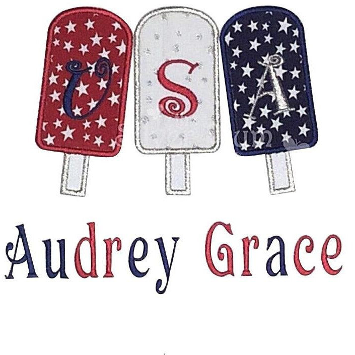 Patriotic - USA Popsicle Trio, Stars of Red, White & Blue Applique Design and Personalized Name