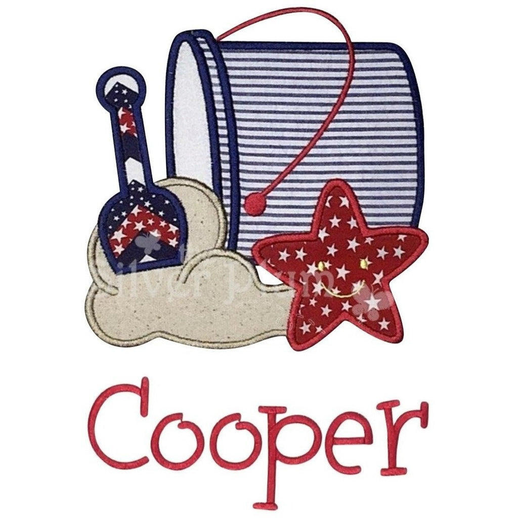Patriotic - Beach Bucket, Stars, Stripes, Shovel, Starfish, Sand Applique Design and Personal Name