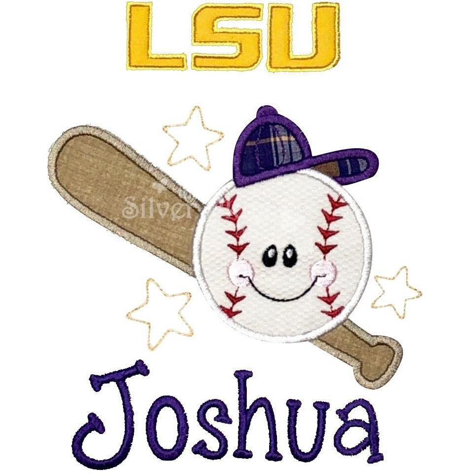 Sports - Happy Face Baseball and Bat, Stars - LSU, Applique Design and Personalized Name